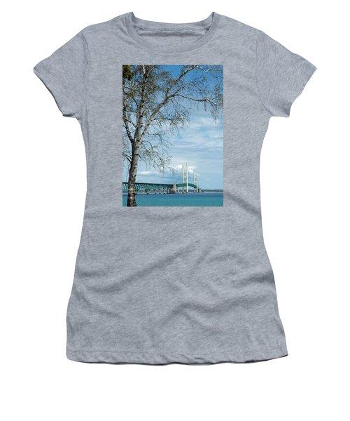 Mackinac Bridge Birch Women's T-Shirt (Athletic Fit)