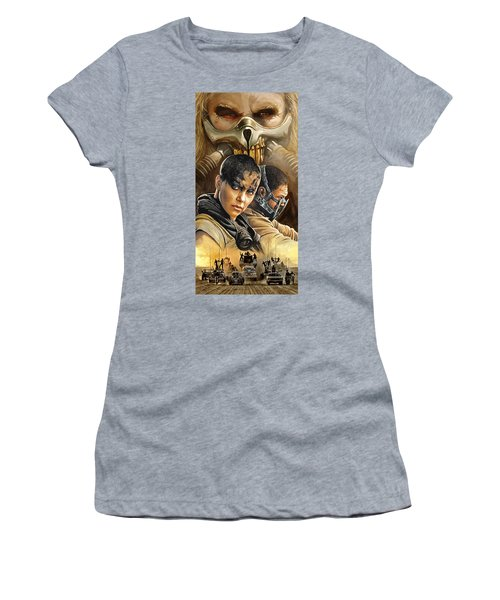 Women's T-Shirt (Junior Cut) featuring the painting Mad Max Fury Road Artwork by Sheraz A