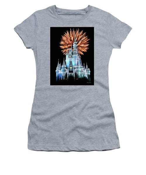 Magic Kingdom Castle In Frosty Light Blue With Fireworks 02 Mp Women's T-Shirt (Athletic Fit)