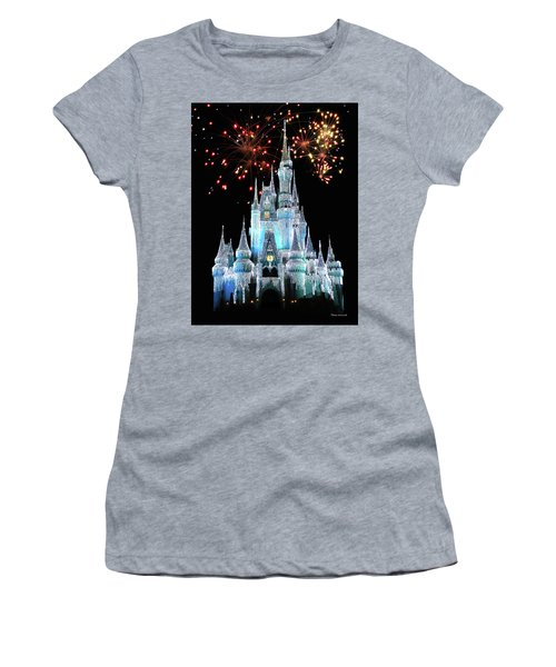 Magic Kingdom Castle In Frosty Light Blue With Fireworks 03 Mp Women's T-Shirt (Junior Cut) by Thomas Woolworth