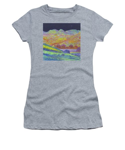 Women's T-Shirt featuring the painting Magical Midnight Grasslands by Cris Fulton