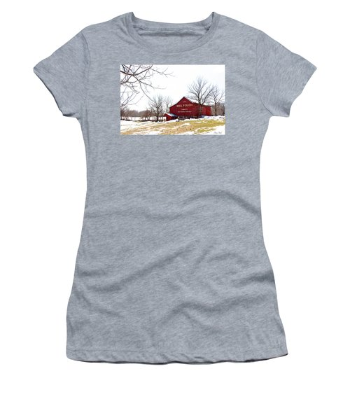 Women's T-Shirt (Athletic Fit) featuring the photograph Mail Pouch Tobacco Barn by Trina Ansel