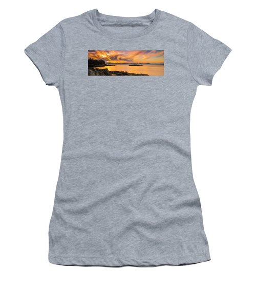 Maine Rocky Coastal Sunset In Penobscot Bay Panorama Women's T-Shirt (Junior Cut) by Ranjay Mitra