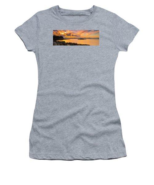Maine Rocky Coastal Sunset In Penobscot Bay Panorama Women's T-Shirt