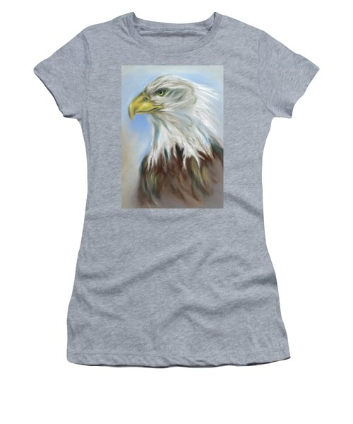 Women's T-Shirt featuring the pastel Majestic Bald Eagle by MM Anderson