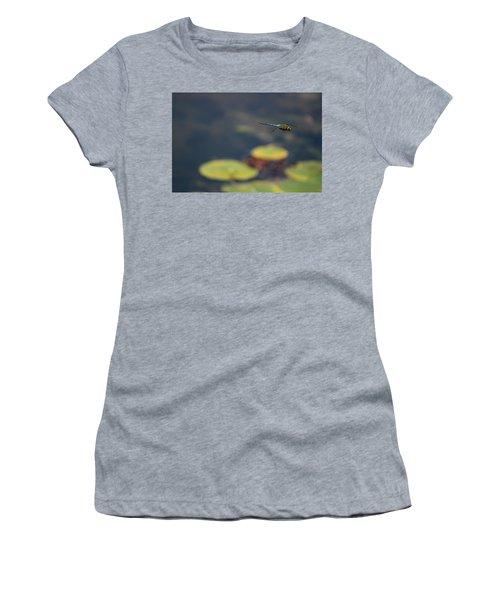 Malibu Blue Dragonfly Flying Over Lotus Pond Women's T-Shirt