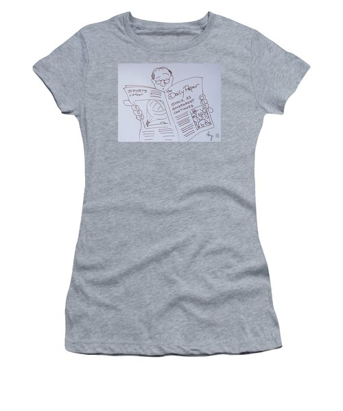 Man Reading A Newspaper Cartoon - What Is The World Coming To Women's T-Shirt