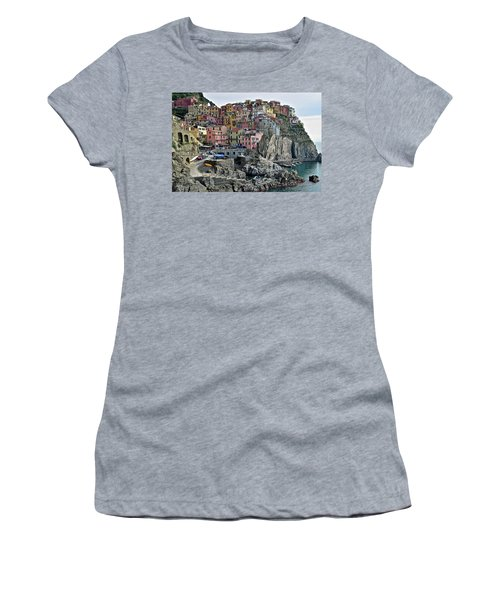 Women's T-Shirt (Junior Cut) featuring the photograph Manarola Version Two by Frozen in Time Fine Art Photography