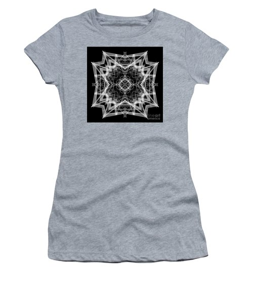 Women's T-Shirt (Athletic Fit) featuring the digital art Mandala 3354b In Black And White by Rafael Salazar