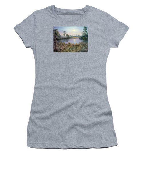 Marsh Wetland Moon Landscape Painting Women's T-Shirt