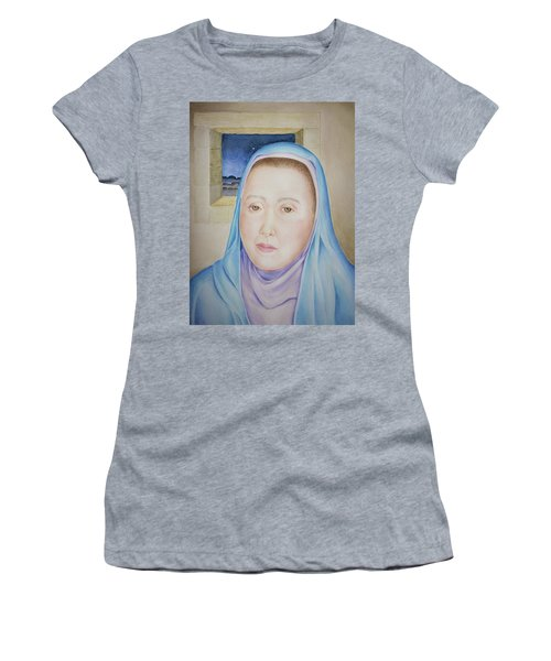 Women's T-Shirt (Athletic Fit) featuring the painting Mary Waits At Easter Dawn by Michele Myers