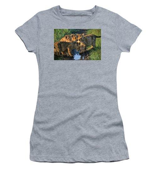 Women's T-Shirt (Junior Cut) featuring the photograph Masai Mara Lion Cubs by Karen Lewis