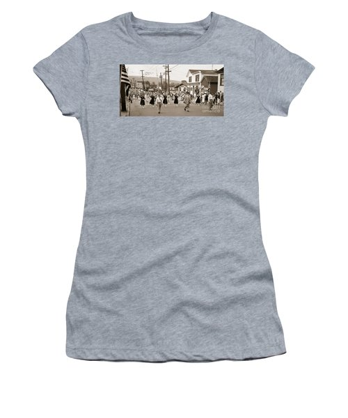 Memorial Day Parade Ashley Pa With Train Station And The Huber Colliery In Background 1955 Women's T-Shirt