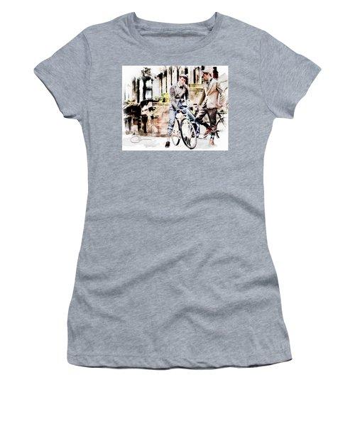 Men On Bikes Women's T-Shirt (Junior Cut) by Robert Smith