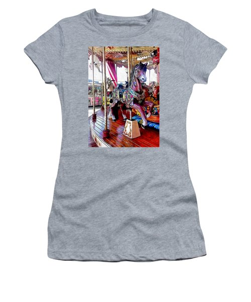Merry Go Round Horses Women's T-Shirt (Athletic Fit)