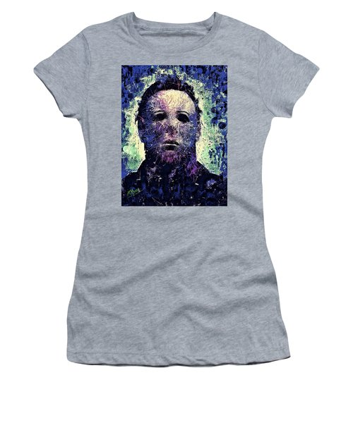 Women's T-Shirt featuring the mixed media Michael Myers by Al Matra