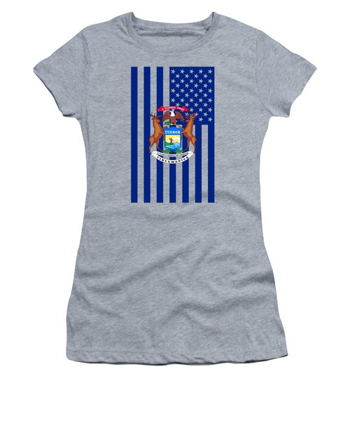 Michigan State Flag Graphic Usa Styling Women's T-Shirt (Athletic Fit)