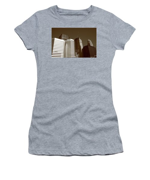 Women's T-Shirt (Junior Cut) featuring the photograph Minneapolis Skyscrapers 5 Sepia by Frank Romeo