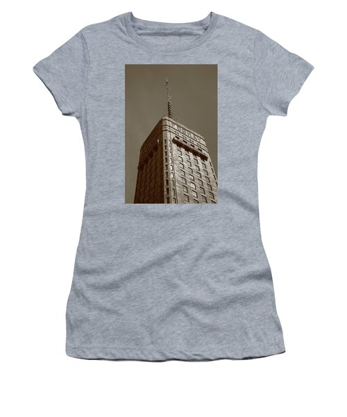 Women's T-Shirt (Junior Cut) featuring the photograph Minneapolis Tower 6 Sepia by Frank Romeo