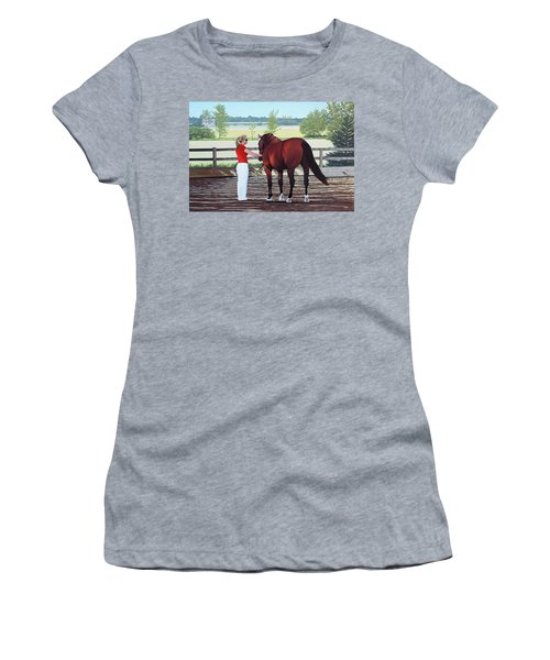 Women's T-Shirt (Junior Cut) featuring the painting Mirage Of Wassini by Kenneth  Kirsch