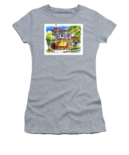 Women's T-Shirt (Junior Cut) featuring the painting Mission San Miguel by Terry Banderas