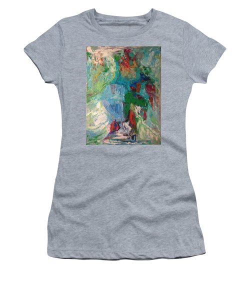 Women's T-Shirt featuring the painting Misty Depths by Nicolas Bouteneff