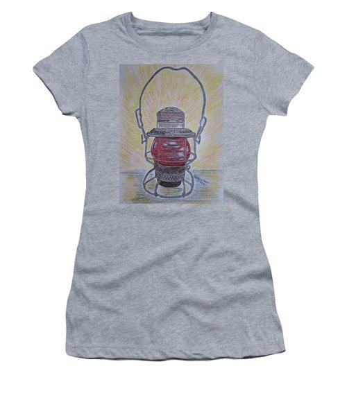 Monon Red Globe Railroad Lantern Women's T-Shirt (Junior Cut) by Kathy Marrs Chandler