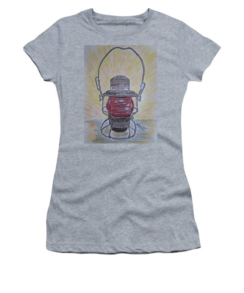Monon Red Globe Railroad Lantern Women's T-Shirt (Athletic Fit)