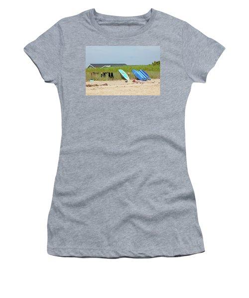 Women's T-Shirt (Junior Cut) featuring the photograph Montauk Beach Stuff by Art Block Collections