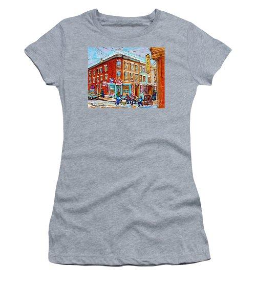 Montreal Storefront Paintings Debullion Street Hockey Art Quebec Winterscenes C Spandau Canadian Art Women's T-Shirt