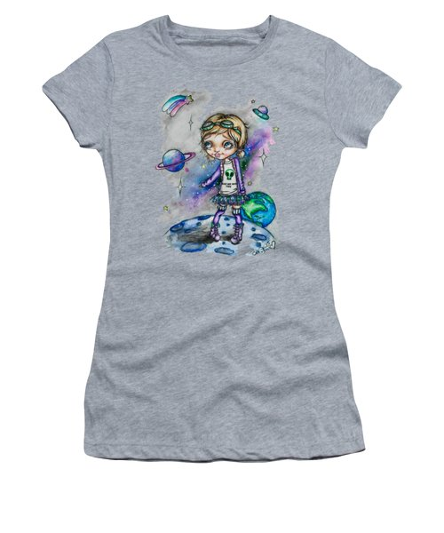 Women's T-Shirt (Junior Cut) featuring the painting Moonwalker by Lizzy Love