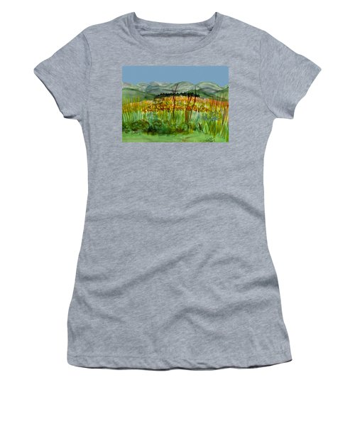 Women's T-Shirt (Junior Cut) featuring the painting Morning In Backyard At Barton by Donna Walsh
