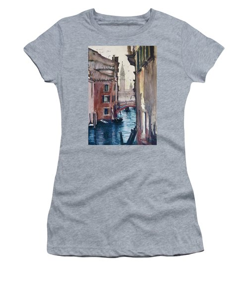 Women's T-Shirt (Junior Cut) featuring the painting Morning In Venice by Geni Gorani