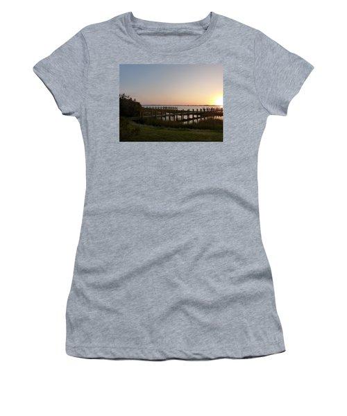 Morning Sunrise Over Assateaque Island Women's T-Shirt (Junior Cut) by Donald C Morgan