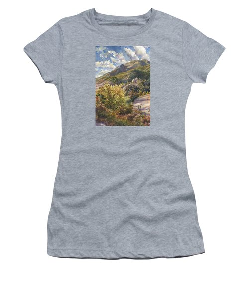 Women's T-Shirt (Junior Cut) featuring the painting Morning Walk At Mount Sanitas by Anne Gifford