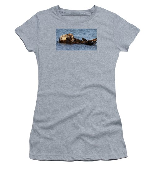 Women's T-Shirt (Junior Cut) featuring the photograph Mother Sea Otter Cuddling Baby by Max Allen