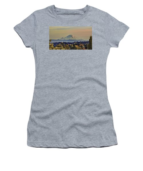 Mt Rainer Fall Color Rising Women's T-Shirt (Athletic Fit)