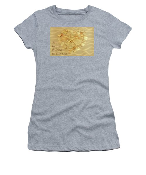 Women's T-Shirt featuring the photograph My Heart Belongs To The Sea by Angie Tirado