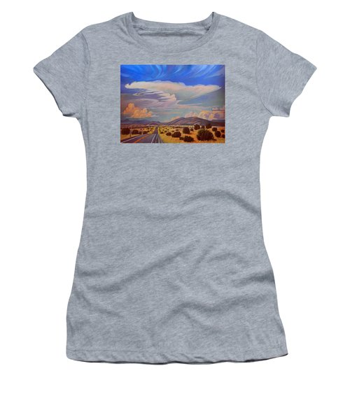 Women's T-Shirt (Junior Cut) featuring the painting New Mexico Cloud Patterns by Art James West