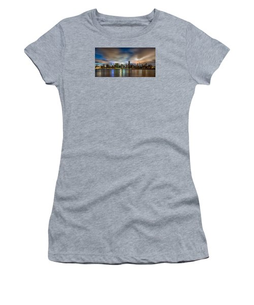 New York City Evening Skyline  Women's T-Shirt (Junior Cut) by Rafael Quirindongo