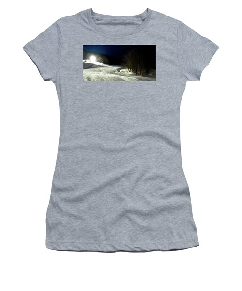 Women's T-Shirt (Junior Cut) featuring the photograph Night Skiing At Mccauley Mountain by David Patterson
