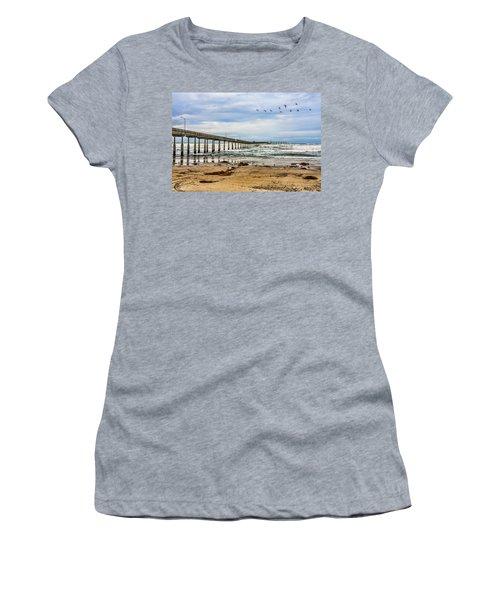 Ocean Beach Pier Fishing Airforce Women's T-Shirt (Junior Cut) by Daniel Hebard
