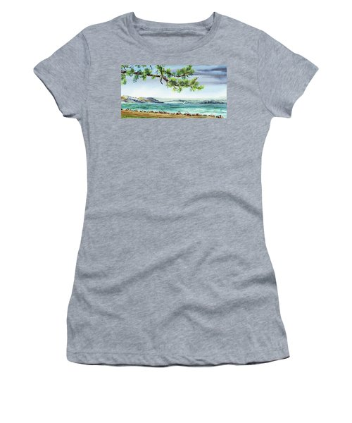 Ocean Beach Watercolour Landscape  Women's T-Shirt