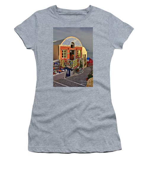 Women's T-Shirt featuring the photograph Oia Pub by Jeremy Hayden
