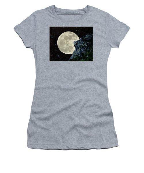 Old Man / Man In The Moon Women's T-Shirt (Junior Cut) by Larry Landolfi