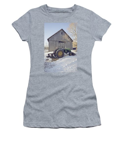 Old Tractor By The Barn Winter Etna Women's T-Shirt