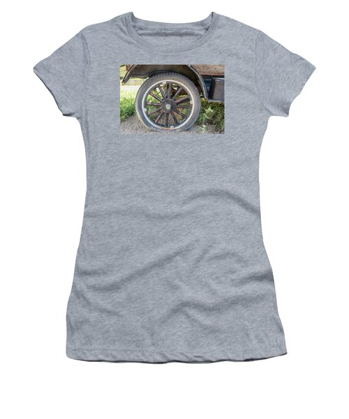 Old Truck Tire In Rural Rocky Mountain Town Women's T-Shirt (Athletic Fit)
