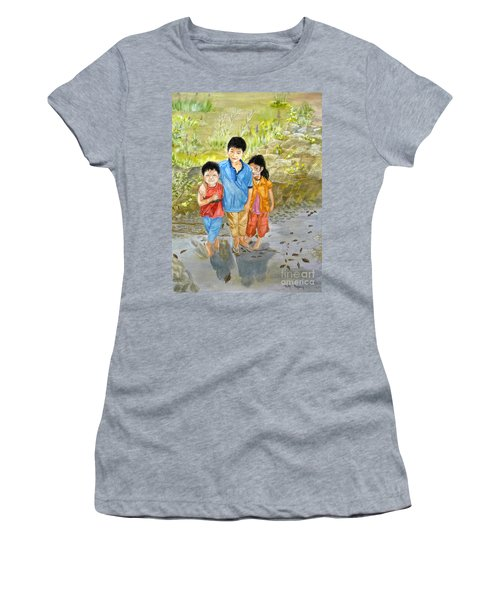 Women's T-Shirt (Junior Cut) featuring the painting Onion Farm Children Bali Indonesia by Melly Terpening