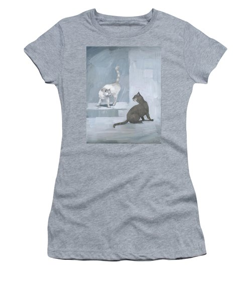 Women's T-Shirt featuring the painting Opposites by Steve Mitchell