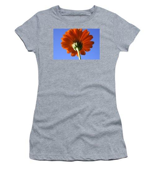 Orange Gerbera Flower Women's T-Shirt (Athletic Fit)